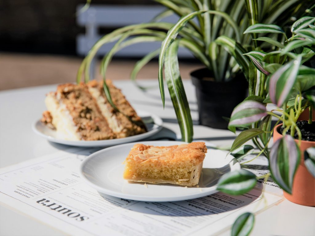 homemade cakes outdoor seating at Soutra
